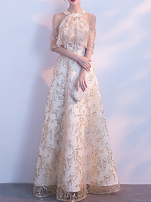 cheap Prom Dresses-A-Line Elegant Gold Prom Formal Evening Dress Jewel Neck Half Sleeve Floor Length Polyester with Embroidery 2020