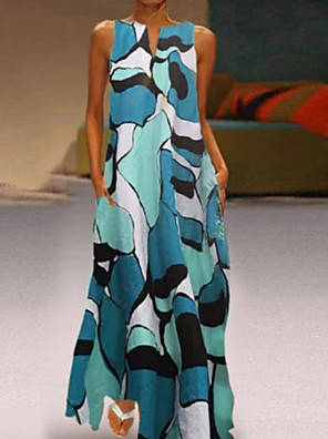cheap Summer Dresses-Women's Maxi Shift Dress - Sleeveless Geometric V Neck Blue Red Green S M L XL XXL XXXL