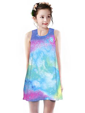 cheap Girls' Dresses-Kids Girls' Basic Cute Rubik's Cube Geometric Galaxy Rainbow Print Sleeveless Knee-length Dress Purple