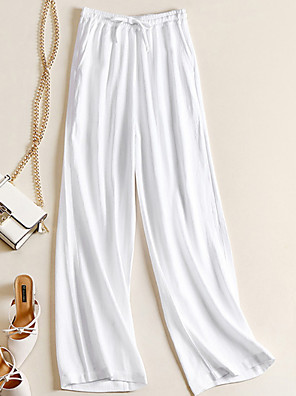 cheap Women's Pants-Women's Basic Loose Cotton Wide Leg Chinos Pants - Solid Colored White Black Beige S / M / L