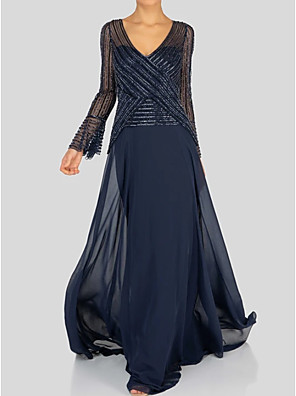 cheap Prom Dresses-A-Line Mother of the Bride Dress Elegant V Neck Floor Length Chiffon Long Sleeve with Sequin 2020