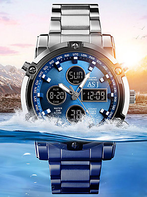 cheap Sport Watches-ASJ Men's Sport Watch Wrist Watch Digital Watch Quartz Fashion Water Resistant / Waterproof Stainless Steel White Analog - Digital - White Black Blue Two Years Battery Life / Japanese / Chronograph