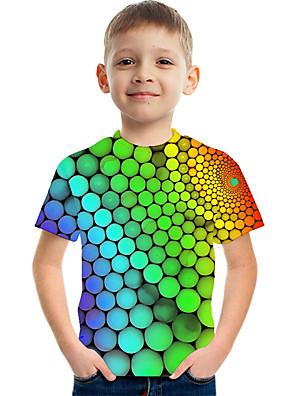 cheap Boys' Tops-Kids Boys' Active Street chic Color Block 3D Print Short Sleeve Tee Rainbow