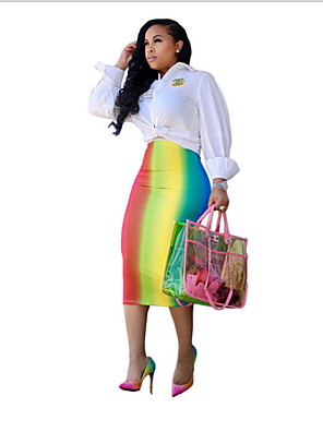 cheap Women's Skirts-Women's Daily Wear Basic A Line Skirts - Color Block Blushing Pink Blue Rainbow S M L