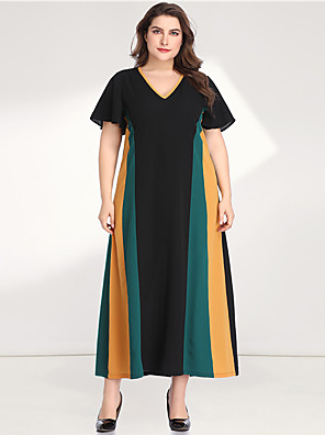 cheap Plus Size Dresses-Women's Plus Size Maxi A Line Dress - Long Sleeve Color Block Solid Color Patchwork V Neck Casual Elegant Daily Going out Flare Cuff Sleeve Green XL XXL XXXL XXXXL XXXXXL