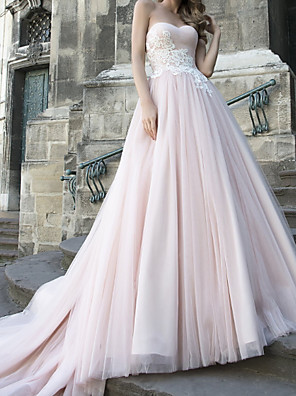 cheap Wedding Dresses-A-Line Wedding Dresses Strapless Sweep / Brush Train Lace Taffeta Tulle Sleeveless Country Plus Size with Appliques 2020