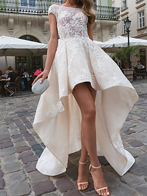 cheap Cocktail Dresses-A-Line Wedding Dresses Bateau Neck Asymmetrical Lace Taffeta Tulle Short Sleeve Country Plus Size with Embroidery Appliques 2020