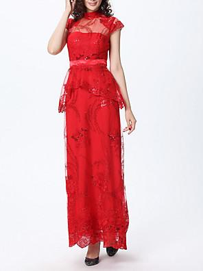 cheap Prom Dresses-Sheath / Column Glittering Peplum Engagement Formal Evening Dress High Neck Short Sleeve Floor Length Polyester with Sequin Lace Insert 2020