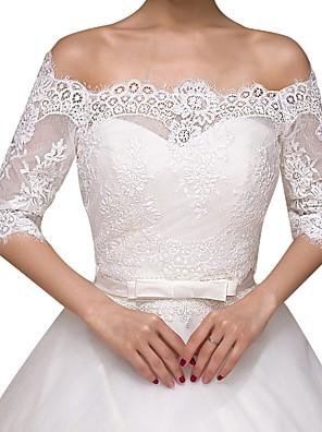 cheap Wedding Wraps-Half Sleeve Basic Lace Wedding Shawl & Wrap With Lace