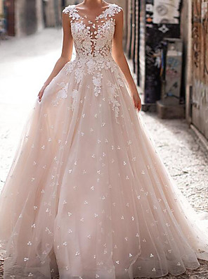 cheap Prom Dresses-A-Line Wedding Dresses V Neck Sweep / Brush Train Polyester Sleeveless Country Plus Size with Embroidery Appliques 2020