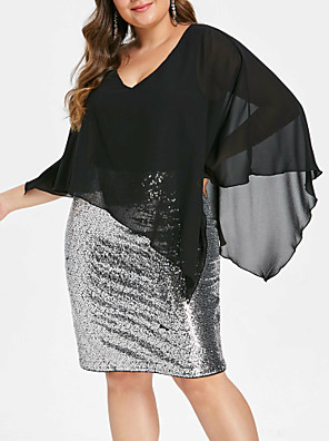 cheap Plus Size Dresses-Women's Plus Size Denim Knee Length Dress - Sleeveless Solid Color Sequins Spring & Summer V Neck Glittering Daily Loose Black XL XXL XXXL XXXXL XXXXXL