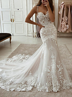 cheap Wedding Dresses-Mermaid / Trumpet Wedding Dresses Spaghetti Strap Scoop Neck Court Train Lace Tulle Polyester Sleeveless Country Plus Size with Embroidery Appliques 2020