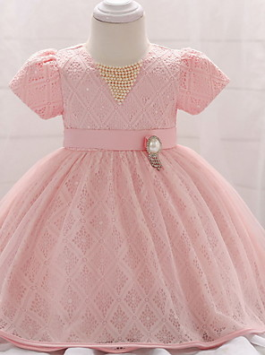 cheap Flower Girl Dresses-Ball Gown Floor Length Party / Birthday Flower Girl Dresses - Lace / Tulle Short Sleeve Jewel Neck with Belt / Beading