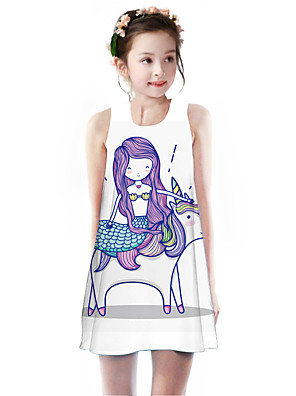 cheap Girls' Dresses-Kids Girls' Basic Cute Mermaid Tail Unicorn Geometric Animal Cartoon Print Sleeveless Knee-length Dress Purple