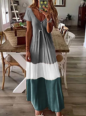 cheap Women's Dresses-Women's Maxi Loose Dress - Short Sleeves Color Block V Neck Loose Blue Red Green Brown Gray S M L XL XXL XXXL