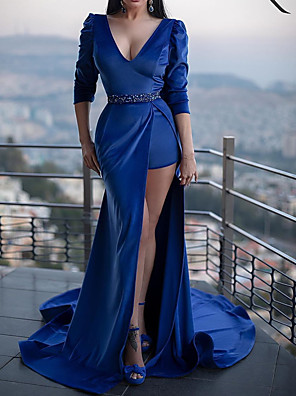 cheap Evening Dresses-Mermaid / Trumpet Sexy Engagement Formal Evening Dress V Neck Half Sleeve Court Train Polyester with Sash / Ribbon 2020