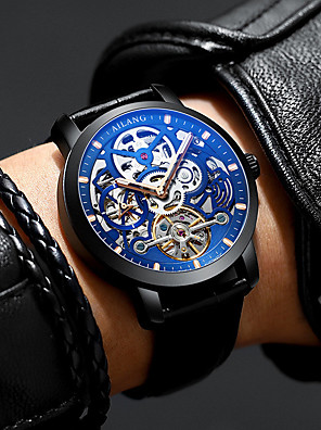 cheap Dress Classic Watches-Men's Mechanical Watch Automatic self-winding Tourbillion Fashion Water Resistant / Waterproof Genuine Leather Analog - Blue Brown Black / Blue One Year Battery Life