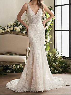 cheap Evening Dresses-Mermaid / Trumpet Wedding Dresses V Neck Sweep / Brush Train Lace Sleeveless Country Plus Size with Lace Embroidery 2020