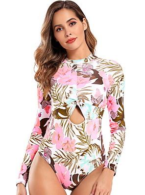 preiswerte Tankinis-Damen Einteiler Badeanzug Blumen Bademode Badeanzüge Rosa