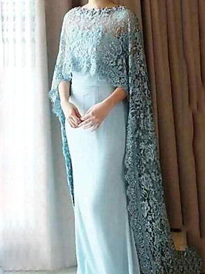 cheap Evening Dresses-Sheath / Column Mother of the Bride Dress Elegant Jewel Neck Floor Length Chiffon Lace 3/4 Length Sleeve with Lace Appliques 2020