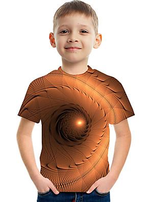 cheap Boys' Tops-Kids Boys' Active Street chic Color Block 3D Print Short Sleeve Tee Brown
