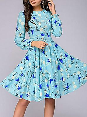 cheap Romantic Lace Dresses-Women's Sheath Dress - Long Sleeve Print Elegant Purple Beige Light Blue S M L XL XXL XXXL