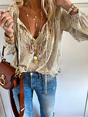 cheap Prom Dresses-Women's Solid Colored Lace Embroidery Hollow Out T-shirt - Lace Daily V Neck Beige