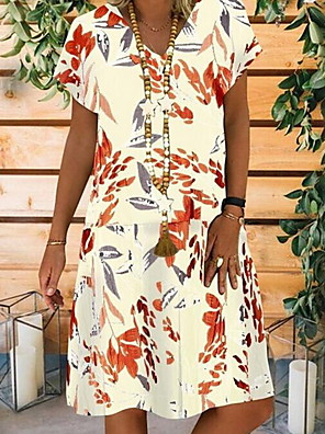 cheap Casual Dresses-Women's A Line Dress - Short Sleeves Geometric V Neck White Black S M L XL XXL XXXL XXXXL XXXXXL