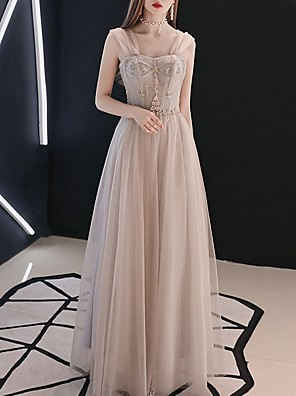 cheap Prom Dresses-A-Line Elegant Grey Prom Formal Evening Dress Sweetheart Neckline Sleeveless Floor Length Polyester with Pleats Beading 2020