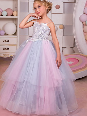 cheap Girls' Dresses-Ball Gown Floor Length Event / Party / Formal Evening Flower Girl Dresses - Polyester Sleeveless Spaghetti Strap with Tier / Appliques