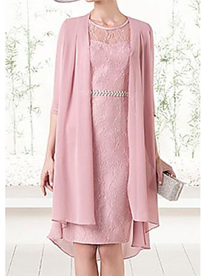 cheap Mother of the Bride Dresses-Two Piece Sheath / Column Mother of the Bride Dress Elegant Illusion Neck Jewel Neck Knee Length Chiffon Lace Satin 3/4 Length Sleeve with Lace Sash / Ribbon 2020