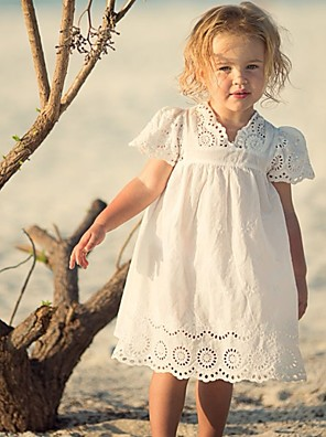 cheap Girls' Dresses-Kids Girls' Solid Colored Lace Dress White