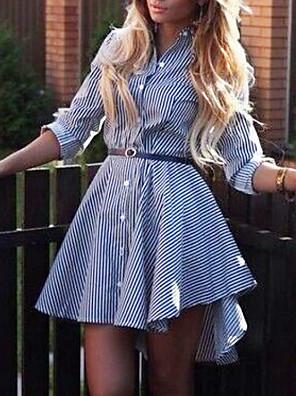 cheap Print Dresses-Women's Sheath Dress - Long Sleeve Print V Neck Wine Black Blushing Pink Fuchsia Light Blue S M L XL XXL