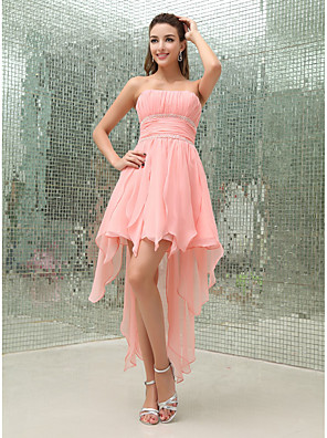 cheap Cocktail Dresses-A-Line Flirty Sexy Homecoming Cocktail Party Dress Strapless Sleeveless Asymmetrical Chiffon with Pleats Beading 2020