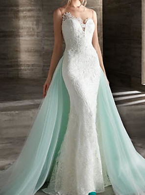 cheap Wedding Dresses-Mermaid / Trumpet Wedding Dresses Strapless Sweep / Brush Train Lace Strapless Country Plus Size with Lace 2020