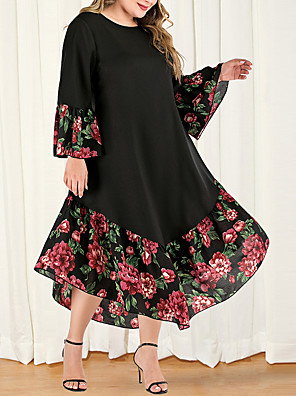 cheap Plus Size Dresses-Women's Plus Size Maxi A Line Dress - Long Sleeve Floral Color Block Solid Color Patchwork Casual Boho Daily Going out Flare Cuff Sleeve Belt Not Included Loose Black L XL XXL XXXL XXXXL / Retro