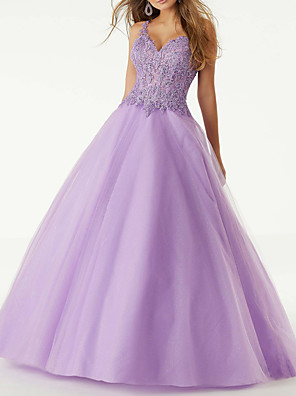 cheap Evening Dresses-Ball Gown Sexy Engagement Prom Dress V Neck Sleeveless Floor Length Lace Polyester with Beading Appliques 2020
