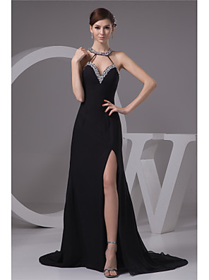 cheap Evening Dresses-Mermaid / Trumpet Sexy Black Engagement Formal Evening Dress Halter Neck Sleeveless Court Train Chiffon with Beading Split 2020