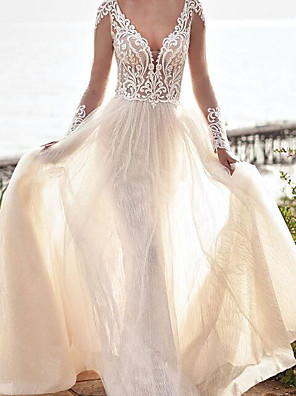 cheap Wedding Dresses-A-Line Wedding Dresses V Neck Sweep / Brush Train Lace Tulle Long Sleeve Country Plus Size with Embroidery 2020
