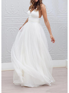 cheap Prom Dresses-A-Line Wedding Dresses Spaghetti Strap Plunging Neck Floor Length Taffeta Tulle Chiffon Over Satin Sleeveless Country Plus Size with Buttons Ruched 2020