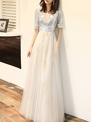 cheap Prom Dresses-A-Line Sparkle White Wedding Guest Prom Dress Scoop Neck Half Sleeve Floor Length Tulle Sequined with Sequin 2020