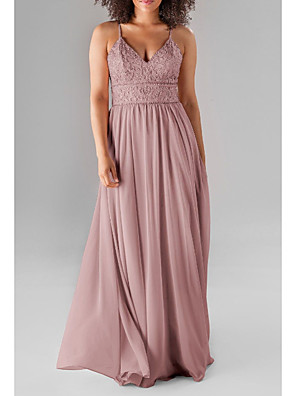 cheap Bridesmaid Dresses-A-Line Spaghetti Strap / Plunging Neck Floor Length Chiffon / Lace Bridesmaid Dress with Beading / Ruching