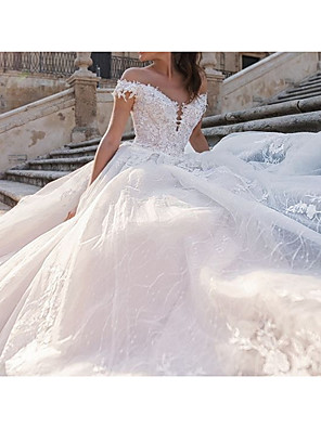 cheap Wedding Dresses-Ball Gown Wedding Dresses Off Shoulder Watteau Train Lace Tulle Sleeveless Country Plus Size with Draping Appliques 2020