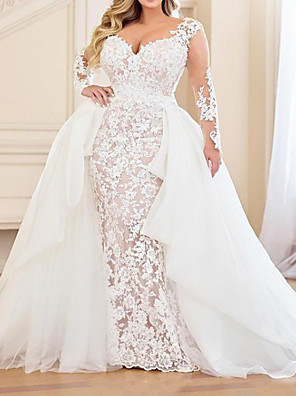 cheap Wedding Dresses-Mermaid / Trumpet Wedding Dresses V Neck Sweep / Brush Train Lace Organza Long Sleeve Country Plus Size with Lace Embroidery Cascading Ruffles 2020