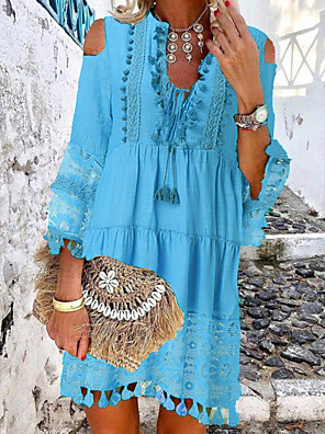 cheap Summer Dresses-Women's Mini Shift Dress - 3/4 Length Sleeve Lace Tassel Fringe Cold Shoulder Summer Deep V Casual Boho Holiday Vacation Beach 2020 White Blue Yellow Blushing Pink Beige S M L XL XXL XXXL