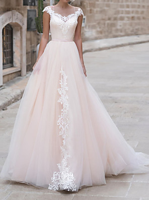 cheap Wedding Dresses-A-Line Wedding Dresses Jewel Neck Sweep / Brush Train Lace Taffeta Chiffon Over Satin Short Sleeve Country Plus Size with Appliques 2020