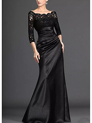 cheap Prom Dresses-Mermaid / Trumpet Mother of the Bride Dress Elegant Off Shoulder Floor Length Lace Stretch Satin 3/4 Length Sleeve with Pleats Draping 2020