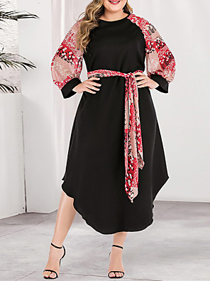 cheap Plus Size Dresses-Women's Plus Size Asymmetrical A Line Dress - Long Sleeve Color Block Solid Color Print Spring & Summer Fall & Winter Casual Boho Daily Going out Blushing Pink L XL XXL XXXL XXXXL