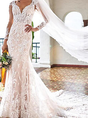 cheap Wedding Dresses-Mermaid / Trumpet Wedding Dresses V Neck Sweep / Brush Train Lace Long Sleeve Country Plus Size with Embroidery 2020