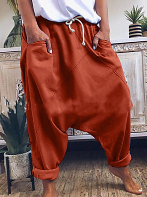 cheap Women's Pants-Men's Basic Loose Harem Pants - Solid Colored Yellow Orange Gray US34 / UK34 / EU42 / US36 / UK36 / EU44 / US38 / UK38 / EU46